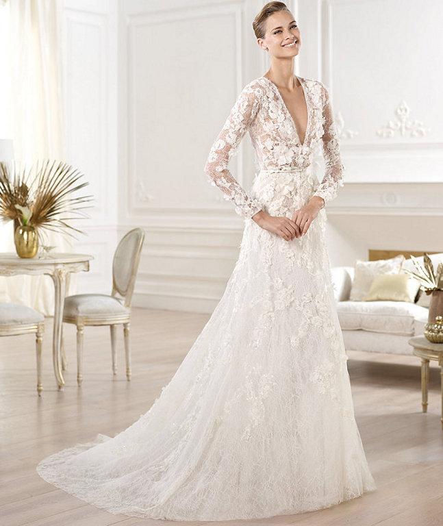 Vestidos de novia en tela chantilly